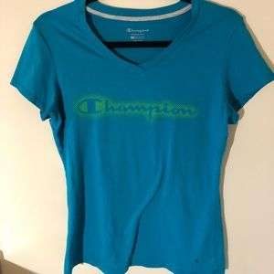 Champion double dry blue tee shirt with green logo